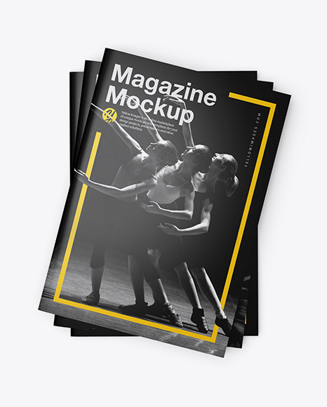 Three Glossy A4 Magazines Mockup In Stationery Mockups On Yellow