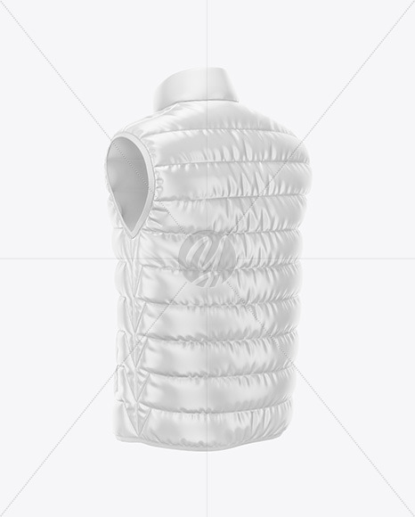 Men's Down Vest Mockup - Back Half Side View