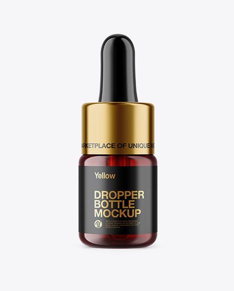 Download 5ml Dark Amber Glass Dropper Bottle PSD Mockup