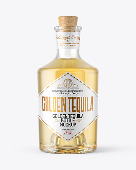 Download Golden Tequila Bottle with Cork PSD Mockup