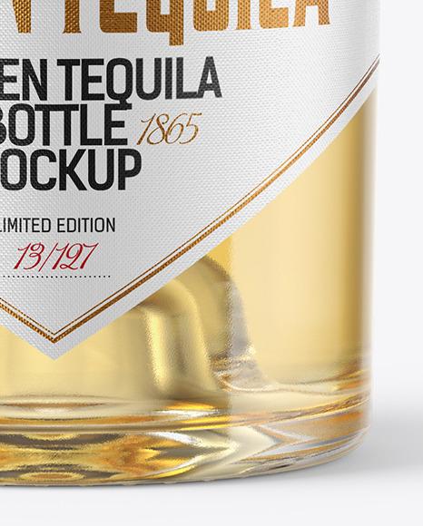 Golden Tequila Bottle with Cork Mockup