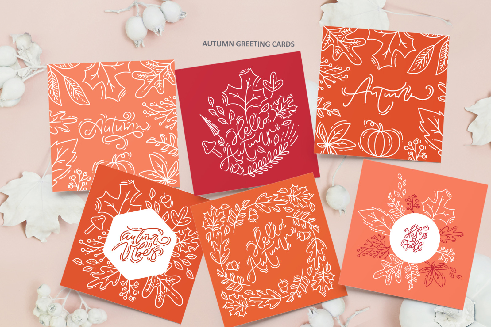 Monoline vector autumn floral elements