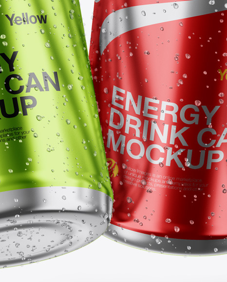 Four Glossy Metallic Cans Mockup