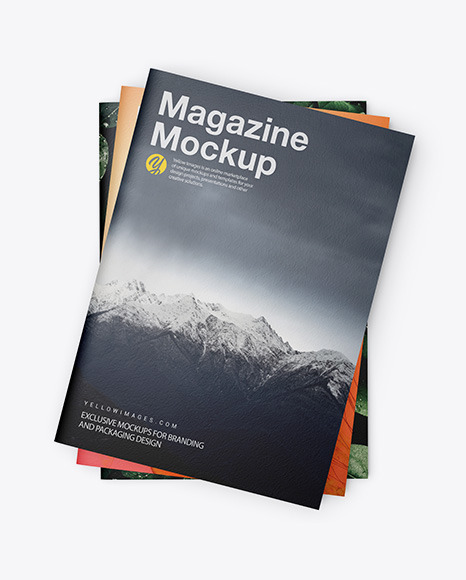 Download Three Textured A4 Magazines PSD Mockup