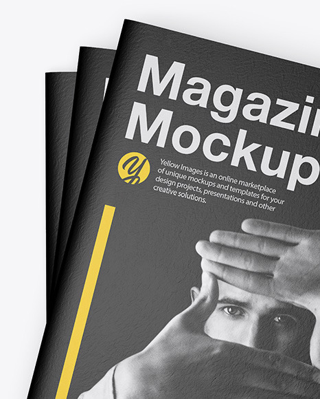 Download Three Textured A4 Magazines Mockup In Stationery Mockups On Yellow Images Object Mockups PSD Mockup Templates
