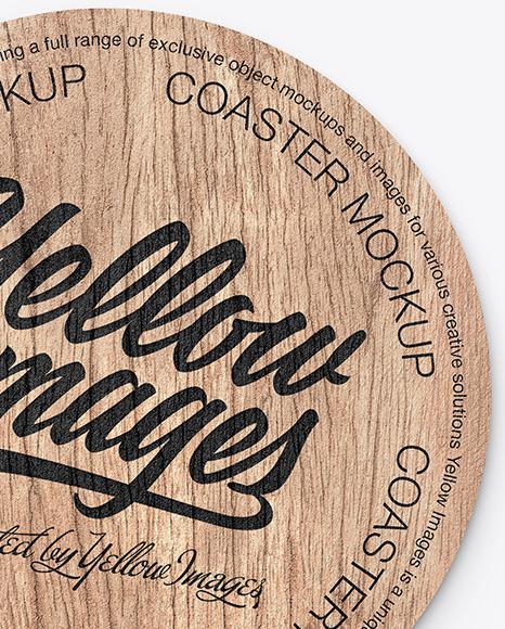 Wood Beverage Coaster Mockup