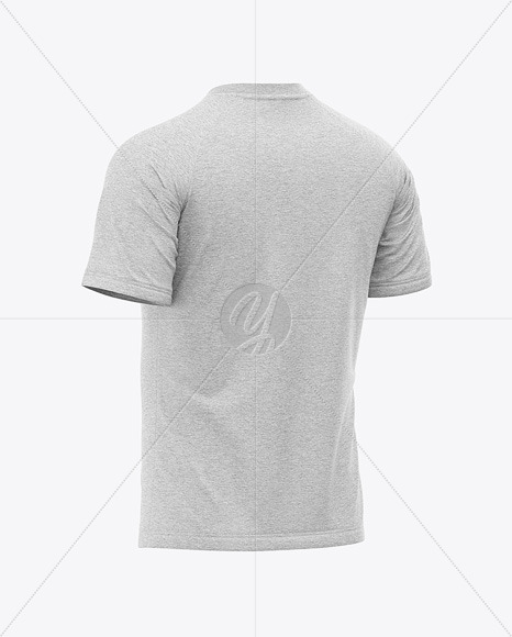 Men S Heather Raglan T Shirt Mockup Back Half Side View In