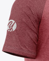 Men's Heather Raglan T-Shirt Mockup - Back Half-Side View