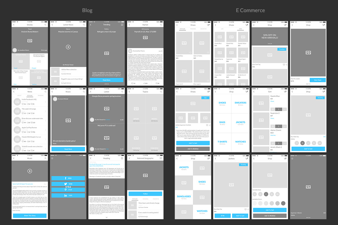 Bones IOS Wireframe Kit