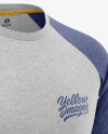 Men's Heather Raglan T-Shirt Mockup - Front Half-Side View