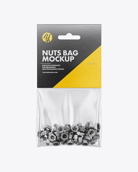 Download Plastic Bag With Nuts PSD Mockup