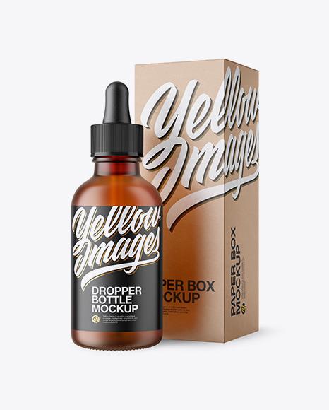 Download 50ml Frosted Amber Glass Bottle W Kraft Box PSD Mockup