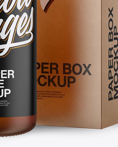 50ml Frosted Amber Glass Bottle W/ Kraft Box