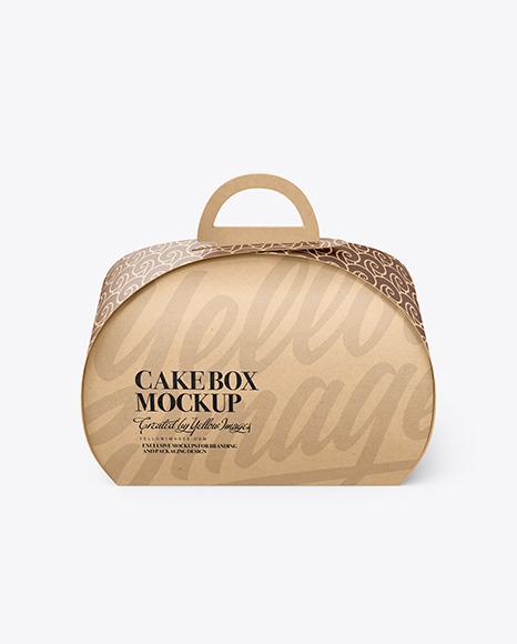 Download Kraft Cake Box PSD Mockup