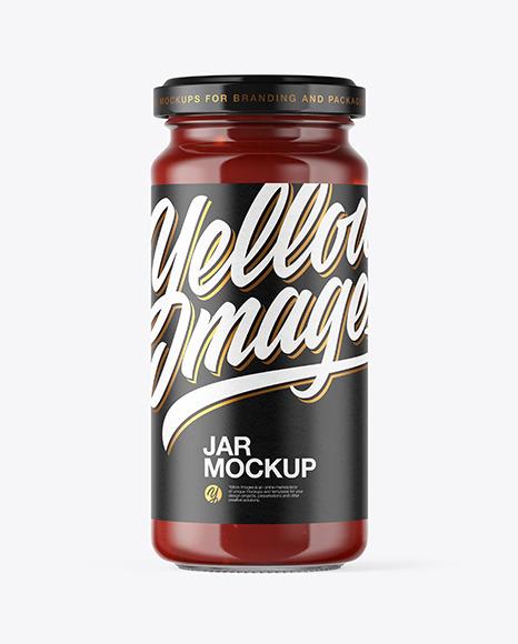 Download Clear Glass Sauce Jar PSD Mockup