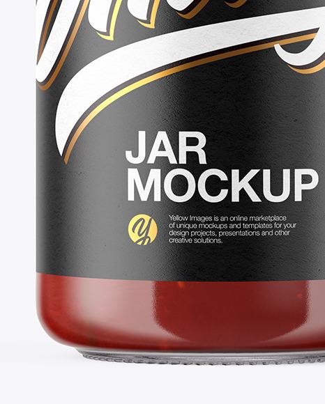 Clear Glass Sauce Jar Mockup