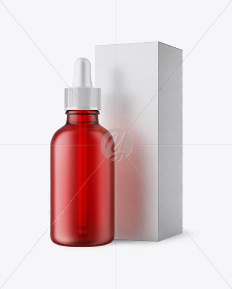 50ml Frosted Red Glass Bottle W/ Kraft Box