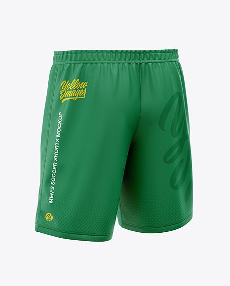 Download Mens Soccer Shorts Back HalfSide View PSD Mockup