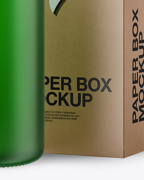 50ml Frosted Green Glass Bottle W/ Kraft Box