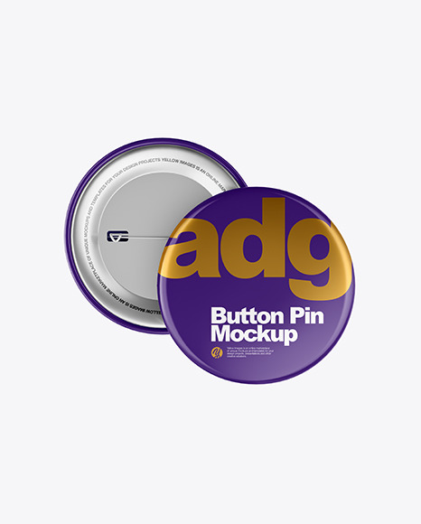 Download Two Glossy Button Pins PSD Mockup