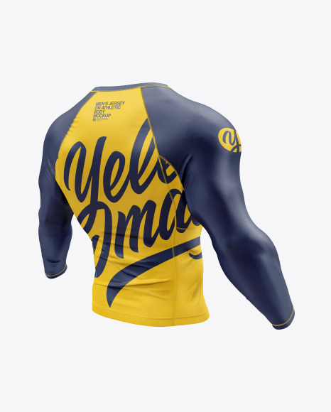 Men's Long Sleeve Jersey on Athletic Body Mockup