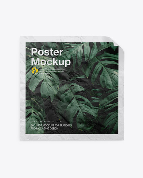Crumpled Square Poster Mockup