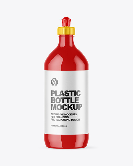 Download Glossy Plastic Bottle with Squeeze Cap PSD Mockup