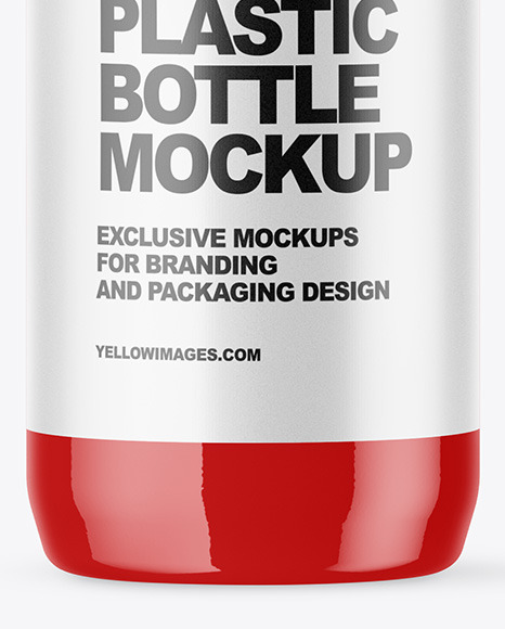 Glossy Plastic Bottle with Squeeze Cap Mockup