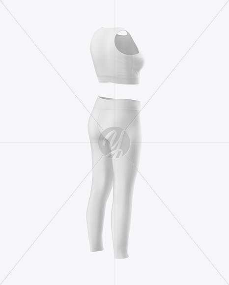 Women's Fitness Kit Mockup - Back Half Side View