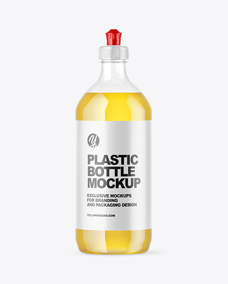 Download Clear Plastic Bottle with Squeeze Cap PSD Mockup
