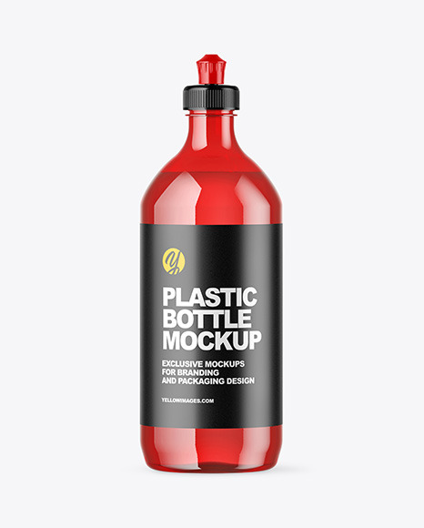 Download Plastic Bottle with Squeeze Cap PSD Mockup