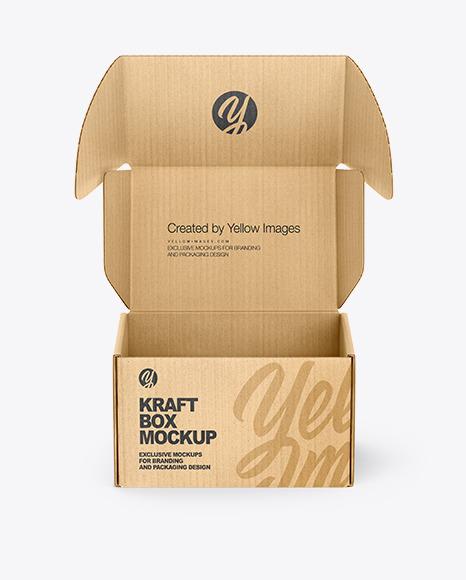 Download Opened Kraft Box PSD Mockup