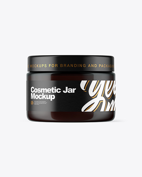 Download Dark Amber Cosmetic Jar PSD Mockup