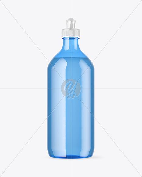 Blue Plastic Bottle with Squeeze Cap Mockup