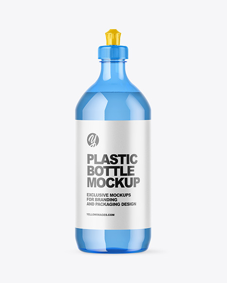Download Blue Plastic Bottle with Squeeze Cap PSD Mockup
