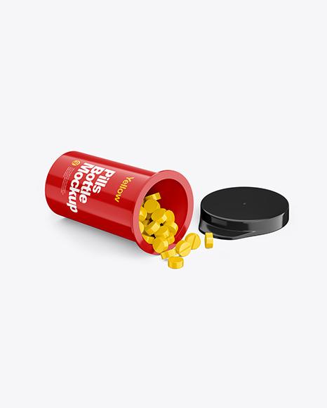 Download Glossy Pills Bottle PSD Mockup