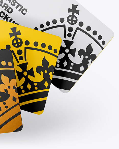 Three Plastic Cards Mockup