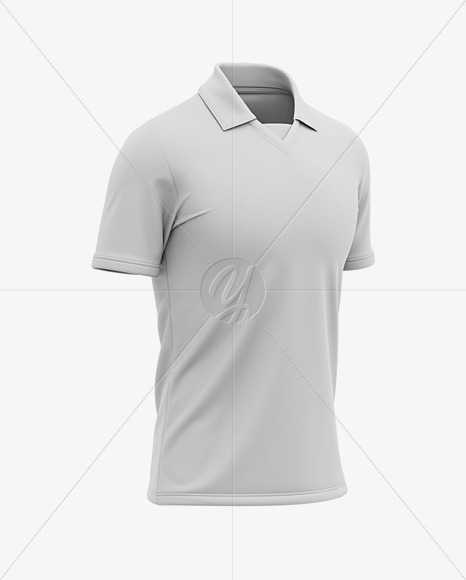 Men's Soccer Jersey / Cricket Jersey Mockup - Front Half Side View of Polo Shirt