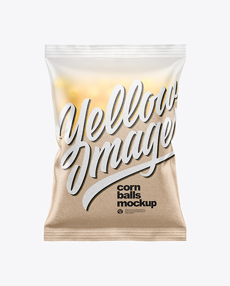 Frosted Bag With Corn Balls Mockup