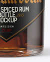 Black Rum Bottle with Cork Mockup