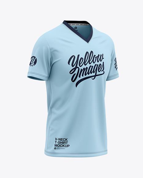 Men's V-Neck T-Shirt Mockup - Front Half Side View