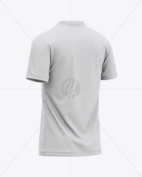 Men's V-Neck T-Shirt Mockup - Back Half Side View