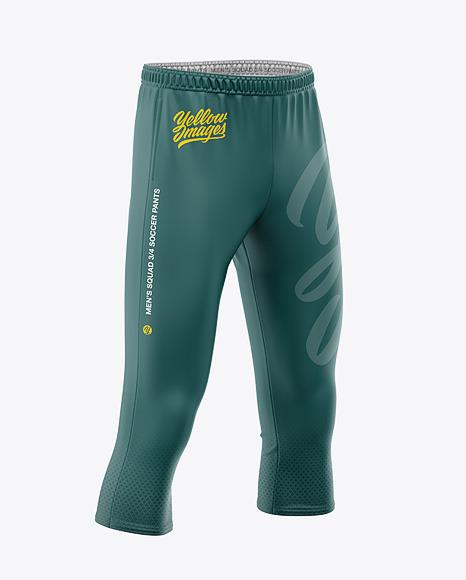 Men's Three Quarter Soccer Pants Mockup - Front Half-Side View