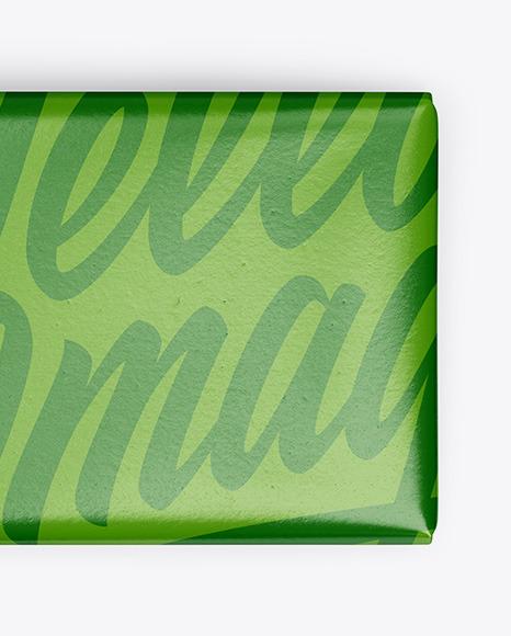 Paper Glossy Chocolate Bar Mockup - Top View