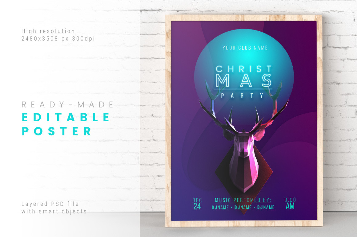 Trendy Christmas Poster / Layered PSD