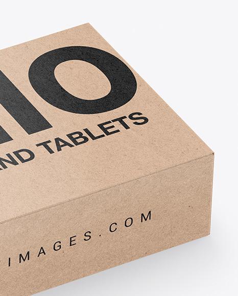 Kraft Box With Tablets Mockup