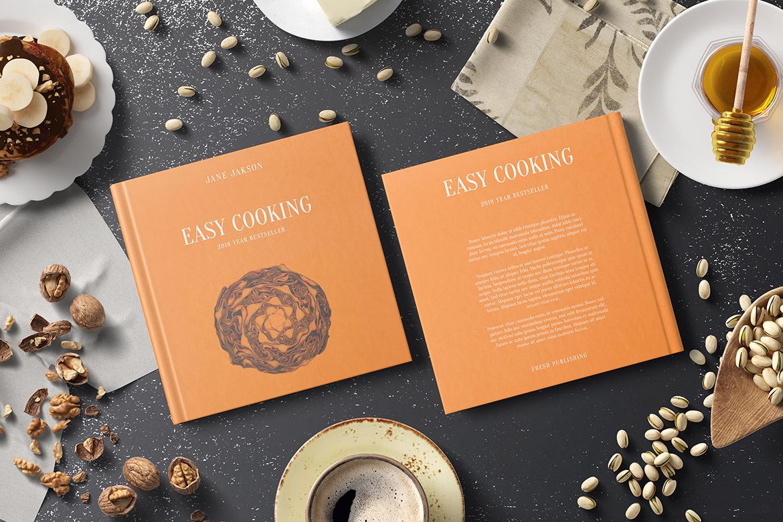 Square Cook Book Mockup - Kitchen Set