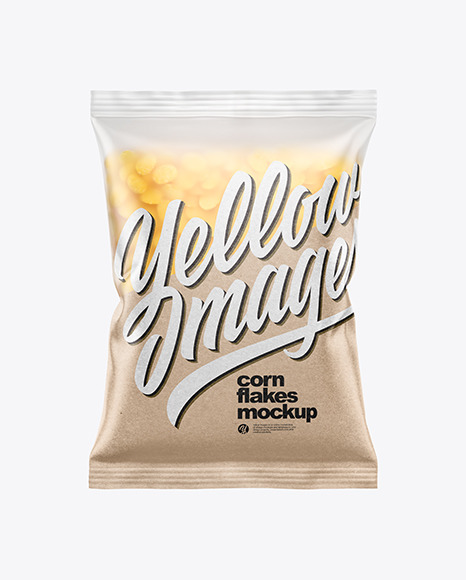 Frosted Bag With Corn Flakes Mockup