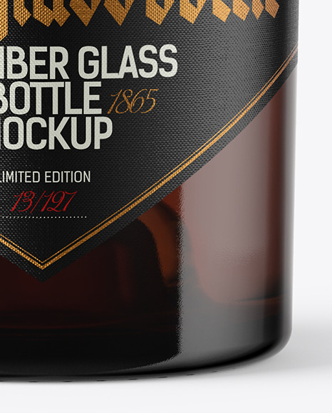Amber Glass Bottle with Cork Mockup