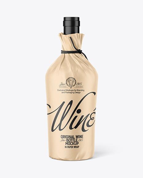 Wine Bottle in Paper Wrap Mockup